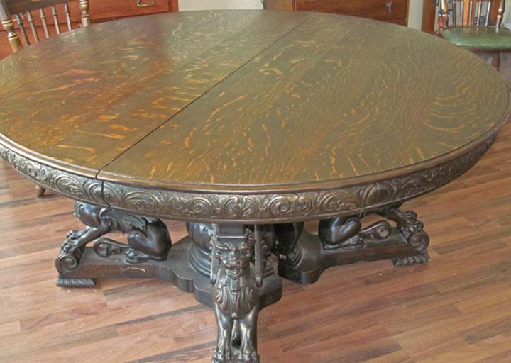 RJ Horner Quartersawn Oak Winged Griffin Table