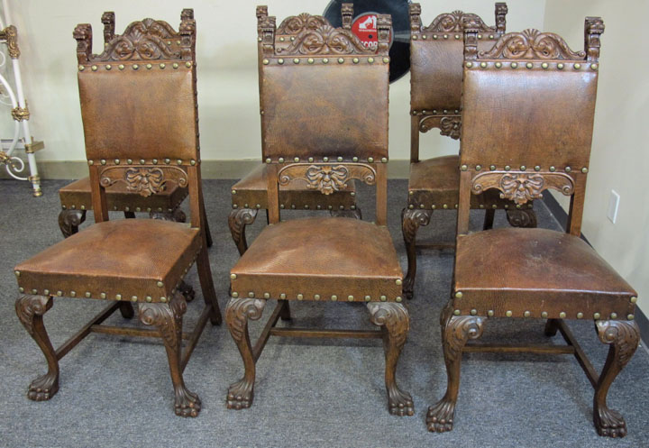 Set Of 6 R J Horner Quartersawn Oak Lion Dining Chairs