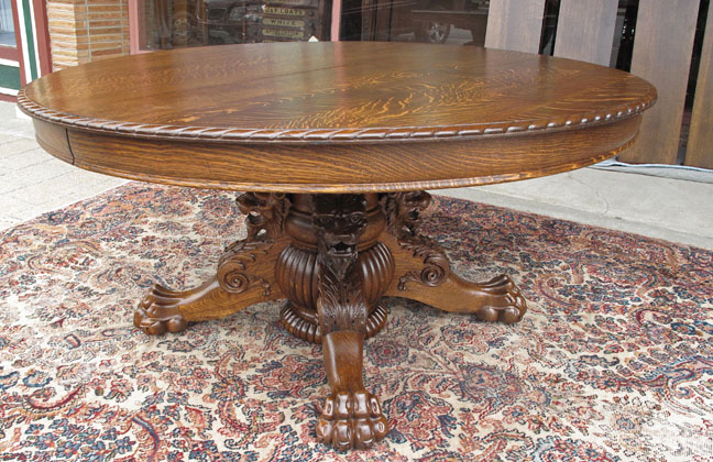 Hastings Antique Oak Dining Table with Lion and Claw Feet -- 60 ...