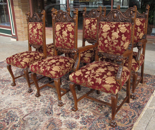 - RJ Horner Quartersawn Oak Lion Head Dining Chairs