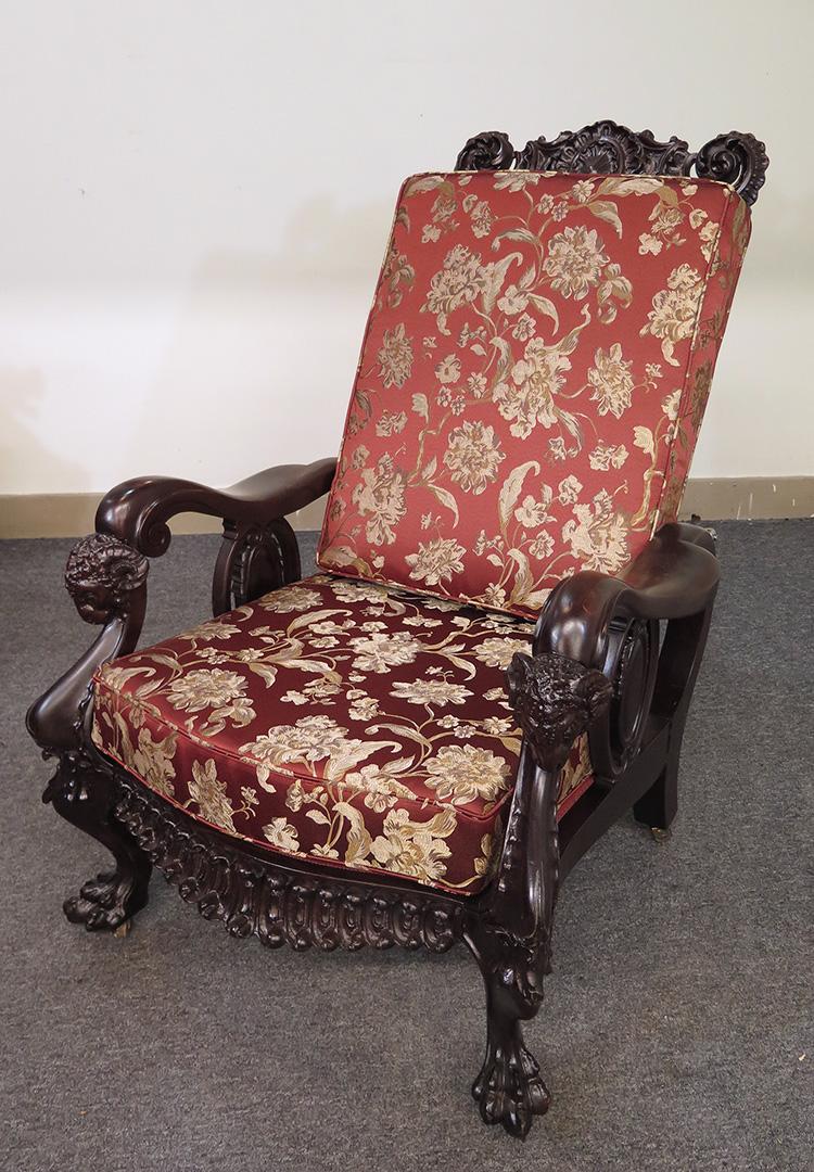 Karpen Carved Mahogany Ram S Head Morris Chair