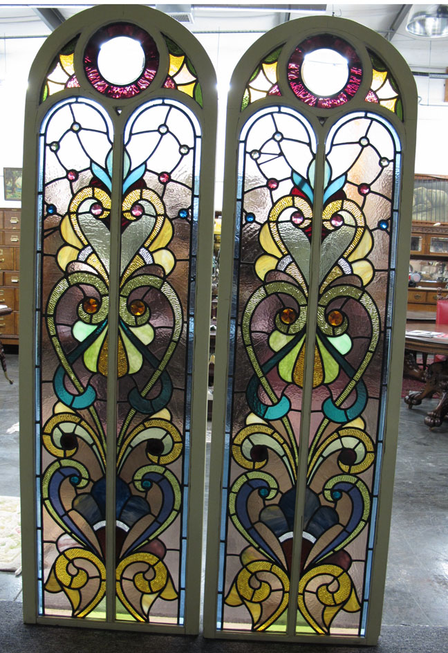Antique Stained Glass Arch Top Windows