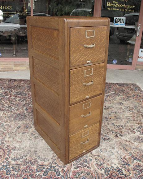 Quartersawn Oak 4 Drawer File Cabinet