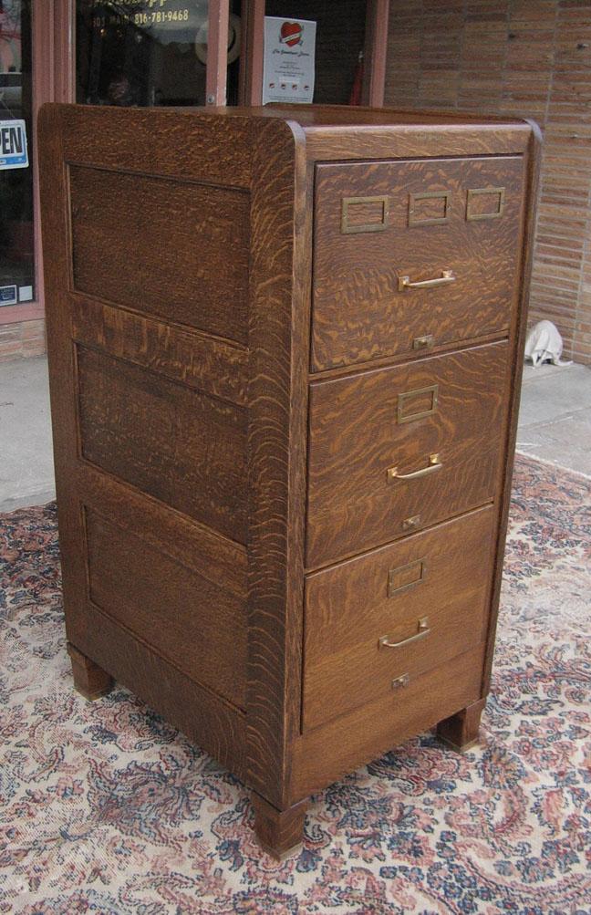 Quartersawn Oak Shaw Walker Legal File Cabinet