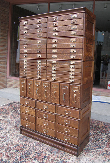 Quartersawn Oak 47 Drawer Stacking File Cabinet