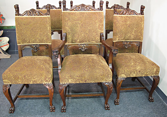 - Set Of 6 Oak Lion Head Chairs