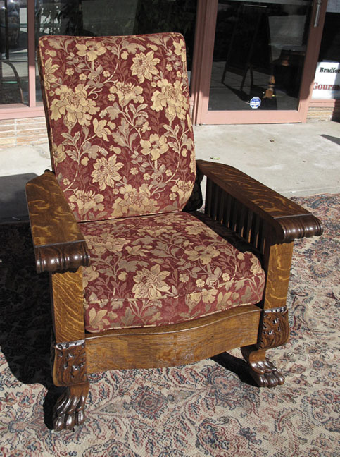 vintage morris chair quartersawn oak claw foot morris chair 3249